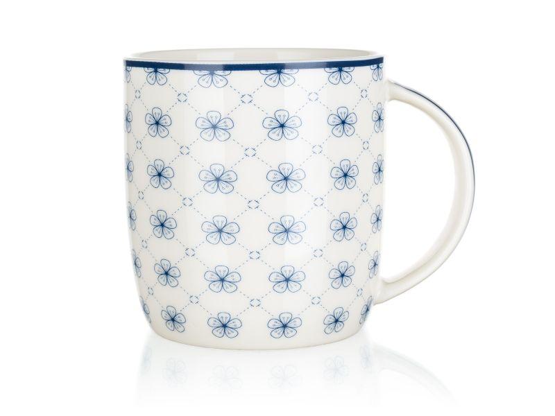 hrnek 360ml FLOWERS 1 bílý, keramika