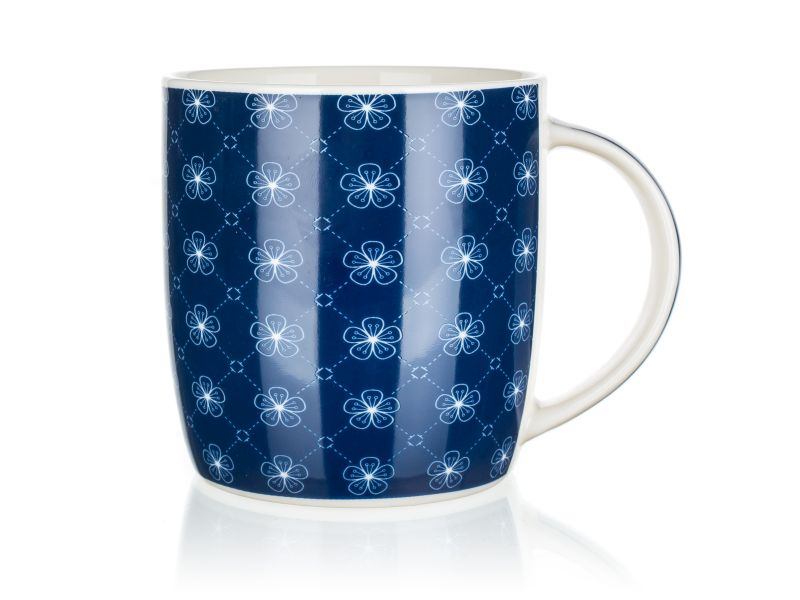 hrnek 360ml FLOWERS 1 modrý, keramika