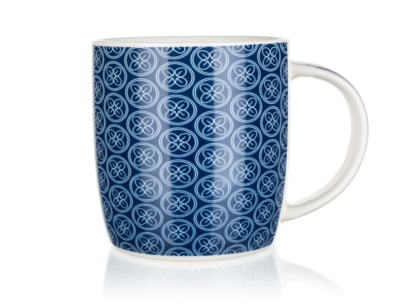 hrnek 360ml FLOWERS 2 modrý, keramika