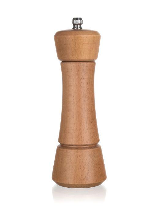 mlýnek NATURAL 16,5cm na koření, dřevo, ker.strojek