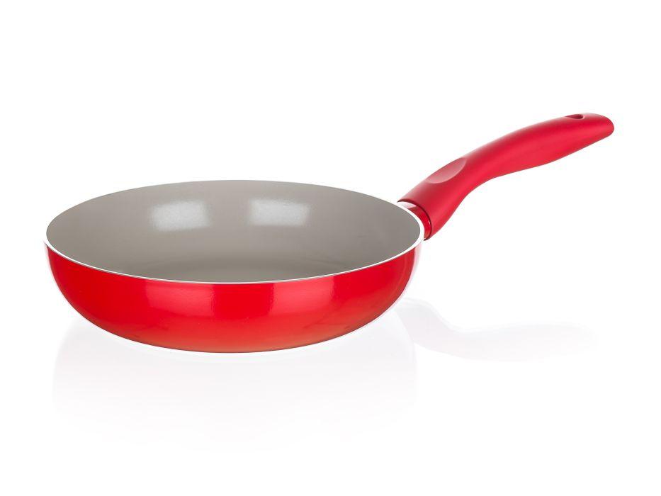 pánev d28x5,8cm MADEIRA červená,ker.pov.,indukce