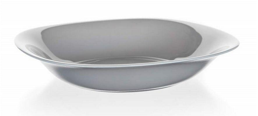 talíř d21cm hluboký, CARINE, čtverc., šedý, tvrz.sklo