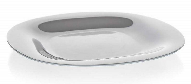 talíř d27cm mělký, CARINE, čtverc., šedý, tvrz.sklo