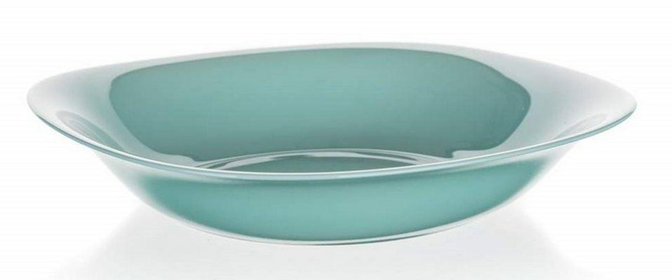 talíř d21cm hluboký, CARINE, čtverc., tyrkys, tvrz.sklo