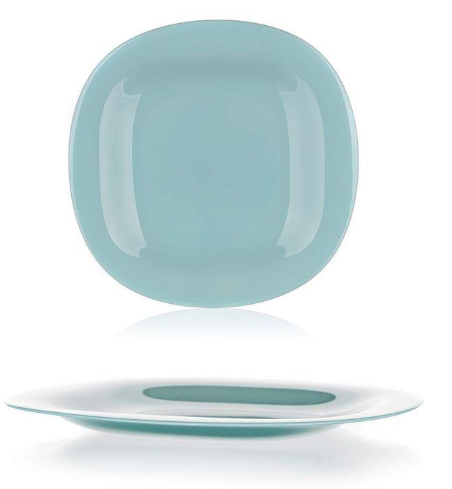 talíř d27cm mělký, CARINE, čtverc., tyrkys, tvrz.sklo