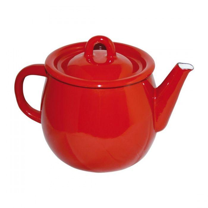 čajník 1,0l+pokl.154/19 červený smalt