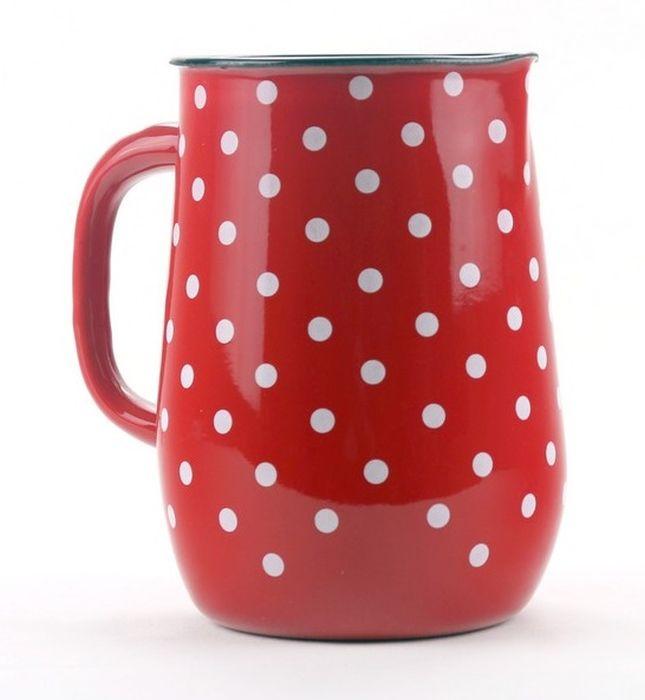 džbán 2,5l - červený, bílý puntík, d11,5x20cm, smalt