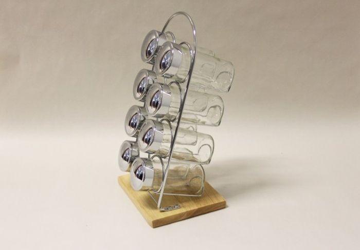 kořenka 8ks sklo, stojan chrom+dřevo