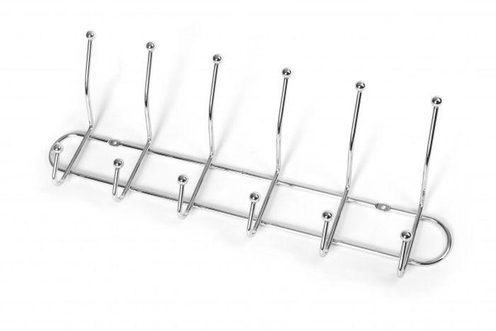 věšák 6-háčků 51x21cm,pevný,šroubovací, chrom