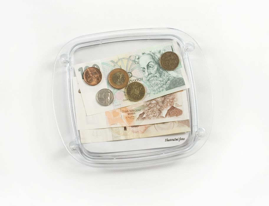 podnos na mince, reklama, plast