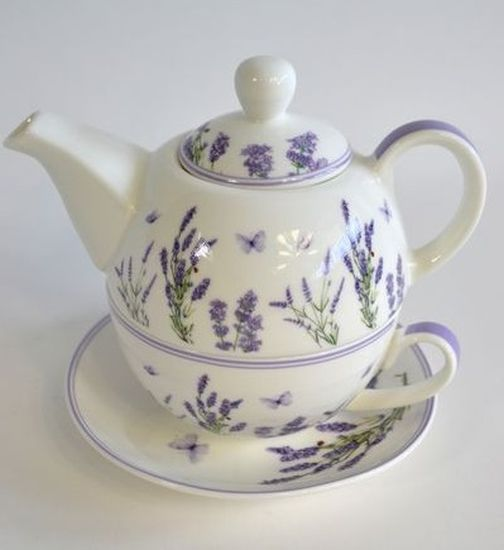 konvice + šapo 360+250ml, LEVANDULE, keramika