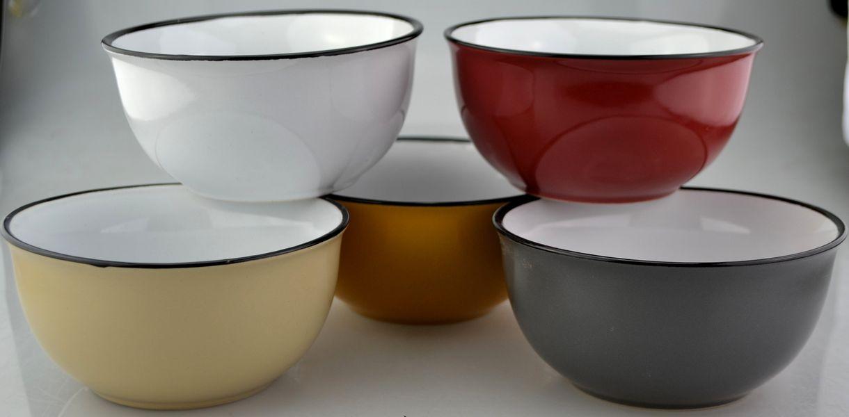 miska d14,2cm, v.8,8cm, JEDNOBAR., 6barev, keramika, 2.jakost