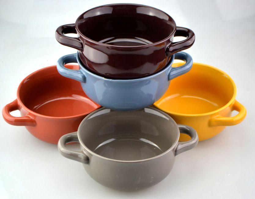 miska d15,5cm, v.7,5cm, DUHA 5 barev, 2ucha, keramika
