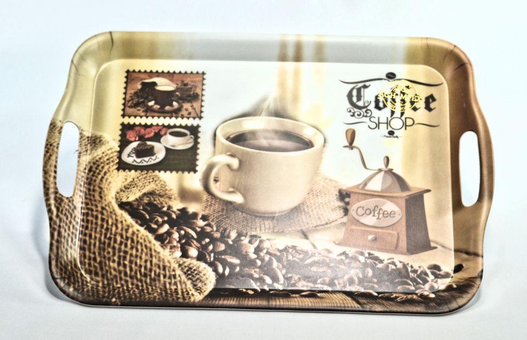 podnos 35,7x25,5x2,3cm, COFFEE, ucha, plast