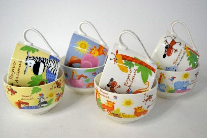 hrnek+miska ZVÍŘÁTKA, set, keramika