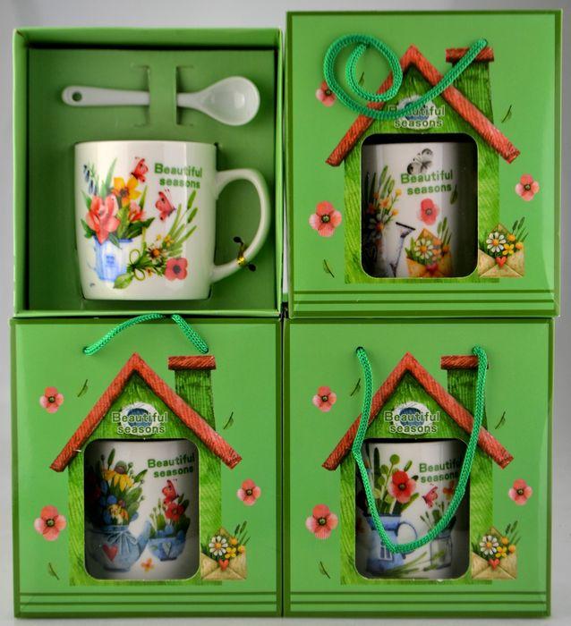 hrnek 180ml, KVĚTY-FLOWERS+lžička, 4 druhy, box, keramika