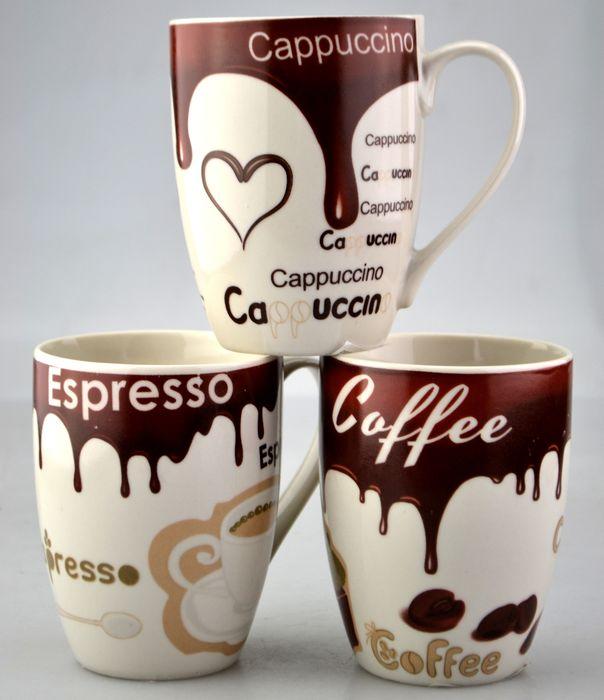 hrnek 480ml, CAFE 4druhy, d8,0, v.10,5cm, keramika