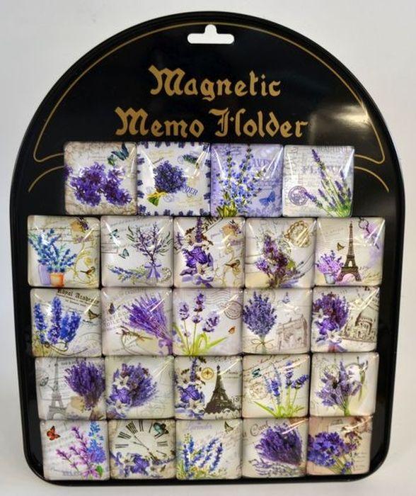 magnety 4x4cm, 24ks, LEVANDULE, vč.tabule