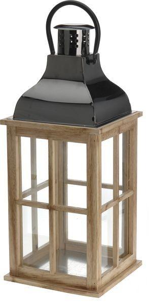 lucerna 15x15cm,v.33,5cm, kov/dřevo