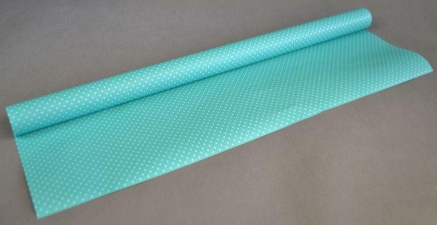 papír dárkový 2mx70cm, TYRKYS+puntík, role