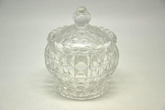 cukřenka d8,5x10,0cm s víčkem,  mačkané sklo