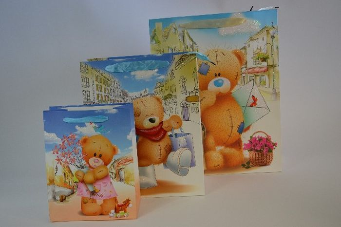 taška dárk.   S, TEDDY, 23x18x10cm, 4 DEK, dětská, papír