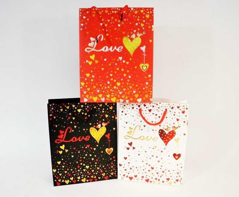 taška dárk.  M, LOVE, 23x18x10cm, 4 DEK, papír