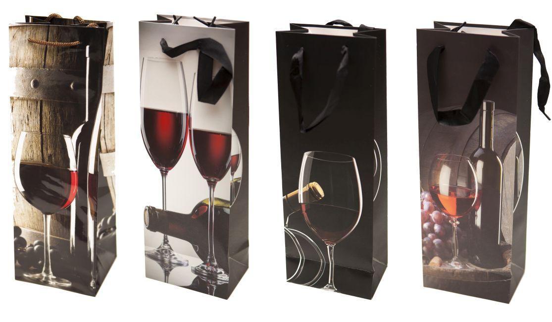 taška na láhev, VÍNO, sklenky, 36x12,8x8,4cm, 4dekory, papír