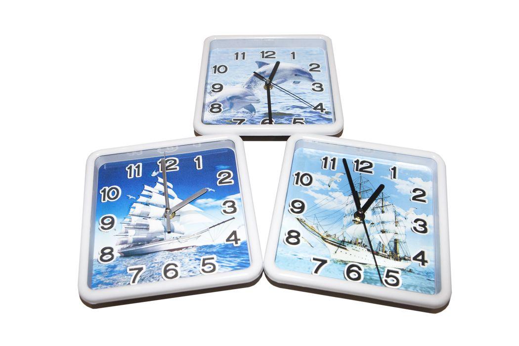 hodiny 20x20cm, Delfín,Lodě-3D, dětské, nástěnné