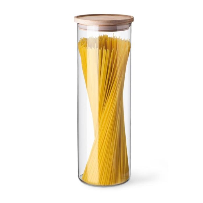 dóza d96x290mm 1,8l sklo, na špagety-dřev.víko