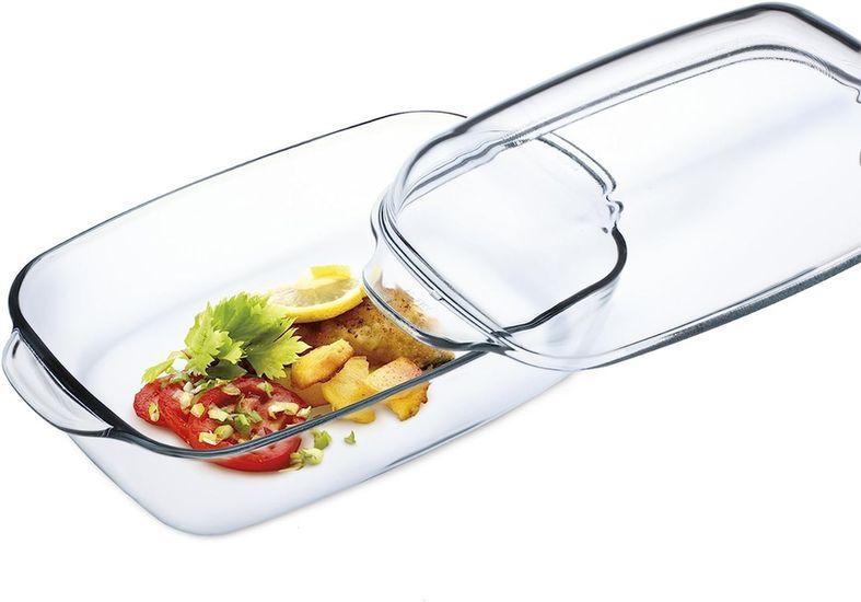 mísa 3,2l hran.vys.+2,3l víko,36,5x20,8x13,5cm,var.sklo,zapék.