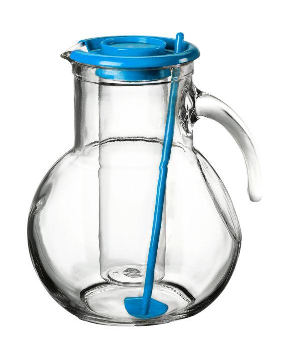 džbán 2,1l sklo, modré víč.,chlad.vlož., míchátko