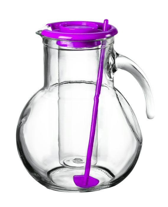 džbán 2,1l sklo, fial.víč.,chlad.vlož., míchátko