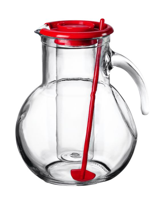 džbán 2,1l sklo, červ.víč.,chlad.vlož., míchátko