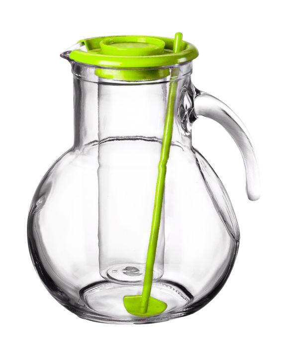 džbán 2,1l sklo, zel.víč.,chlad.vložka, míchátko