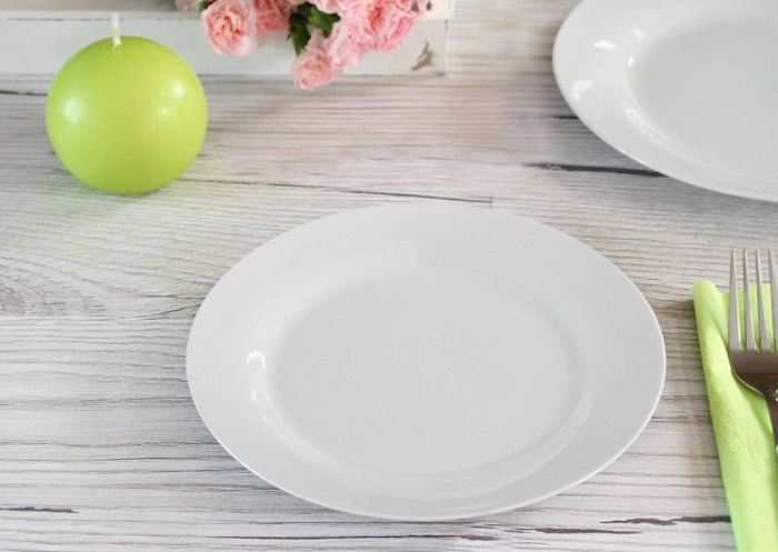 talíř d23cm mělký, bílý porcelán, 2.jakost