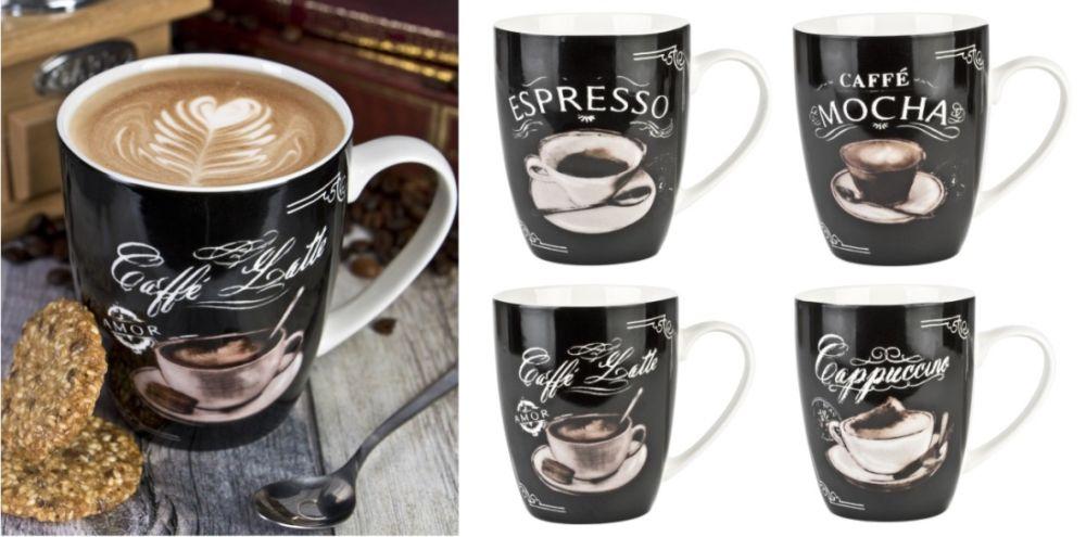 hrnek 380ml NAPOLI 4dekory kávy, new bone