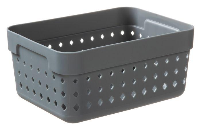 košík SEOUL L-organ., 16x12x7cm-šedý, plast