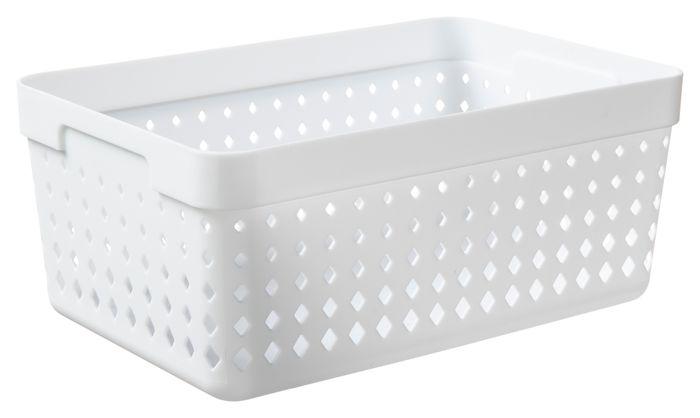 košík SEOUL XL-organ., 24x16x10cm-bílý, plast