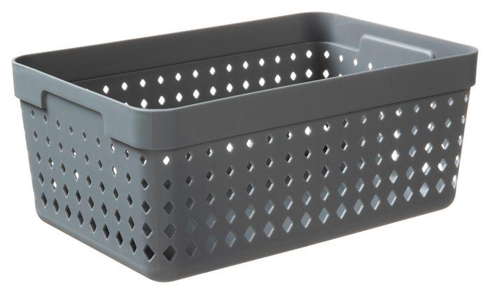 košík SEOUL XL-organ., 24x16x10cm-šedý, plast