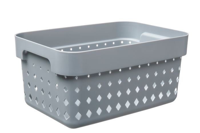 košík SEOUL S, 26x18x12,6cm-šedý, plast