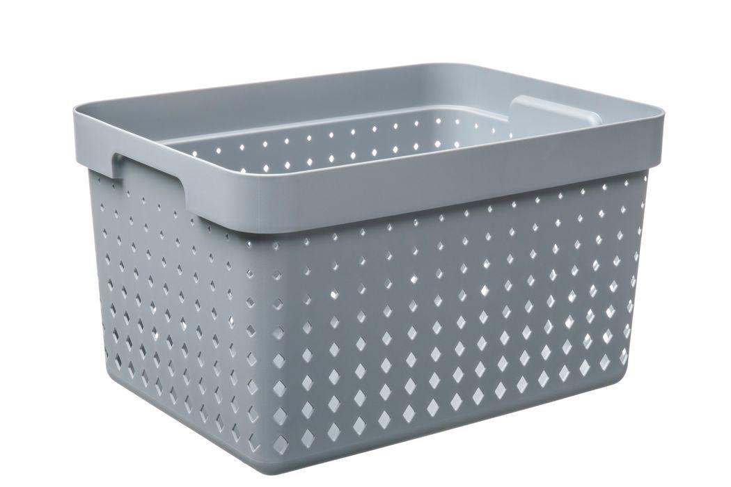 košík SEOUL L, 36x27x20cm-šedý, plast