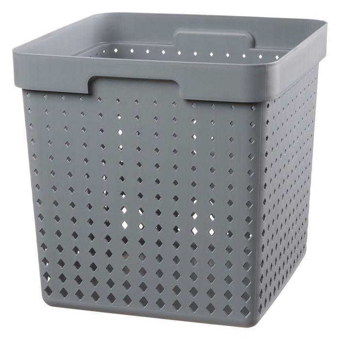 košík SEOUL XL, 30x30x30cm-šedý, plast