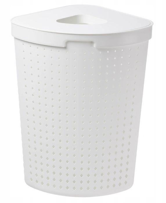 koš 61,8l na použ.prád.roh.SEOUL bílý, 40x40x64cm, plast