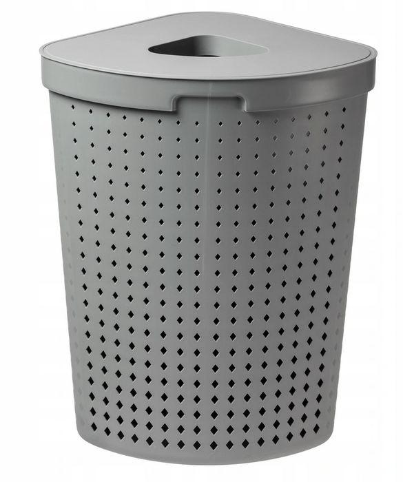 koš 61,8l na použ.prád.roh.SEOUL šedý, 40x40x64cm, plast