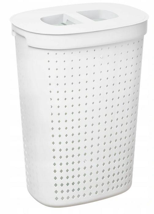 koš 62l na použ.prád.ovál SEOUL bílý, 46x34x64cm, plast