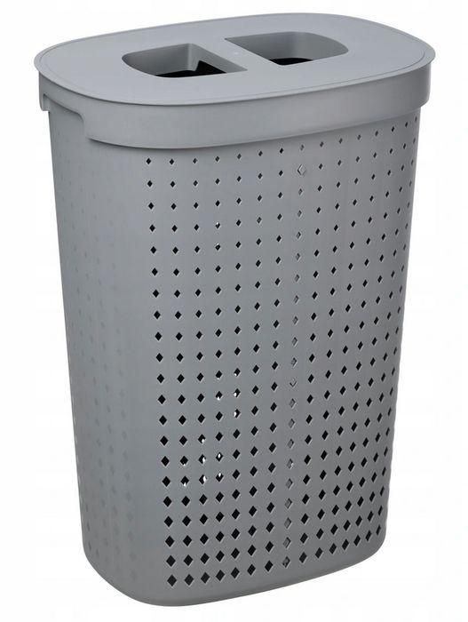 koš 62l na použ.prád.ovál SEOUL šedý, 46x34x64cm, plast