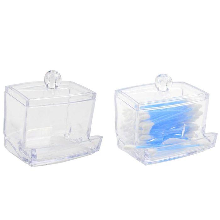 dóza na kosmet.tyčinky 9x6,5x10,5cm, transp.plast