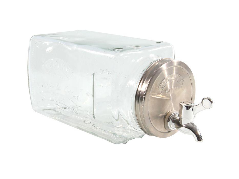 láhev 3,0l sklo s kohoutem, ležící, kov.držadlo