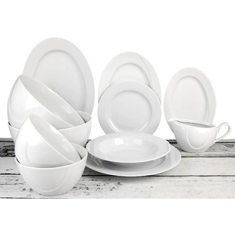 soupr.30díl.jídel.+káva VEGA, bílý porcelán